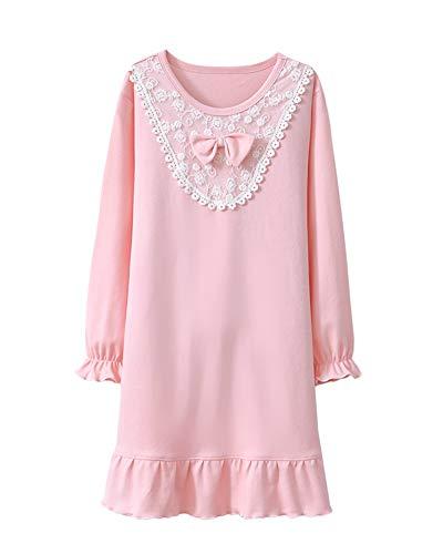 DianShaoA Nachthemden Für Mädchen Langarm Süß Bogen Dekoration Prinzessin Rundhalsausschnitt Schlafanzüge Pink 110