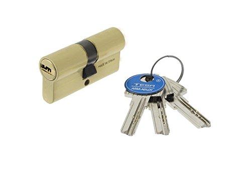Tesa Assa Abloy, T6553030L, Cilindro de seguridad T60, Leva larga, 30x30mm, Latonado