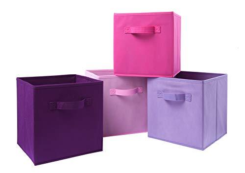 Homelife 4 Stück Faltbare Aufbewahrungsbox Organizer Cube Korb Box für Mädchen Pink Wäsche, Schlafzimmer, Spielzeug, Kinderzimmer, Regal, Haustier