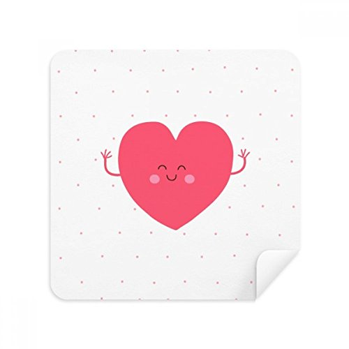 DIYthinker Valentinstag Rosa Nettes Lächeln Gesicht Herz-Glas-Putztuch Telefon Screen Cleaner Suede Fabric 2Pcs
