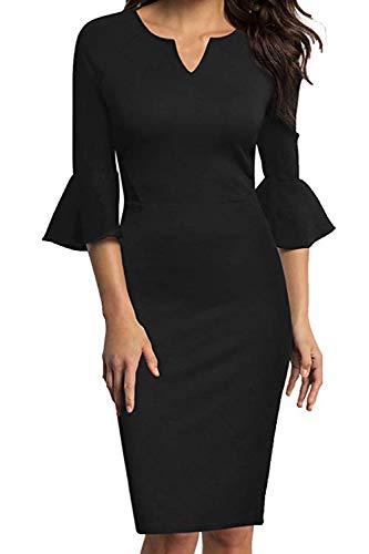 MisShow Damen kostüm Business Kleider Schwarz XL (Business-kostüme Für Damen)
