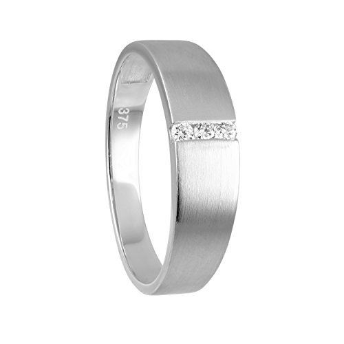 Diamond Line Damen - Ring 375er Gold 3 Diamanten ca. 0,06 ct, weißgold