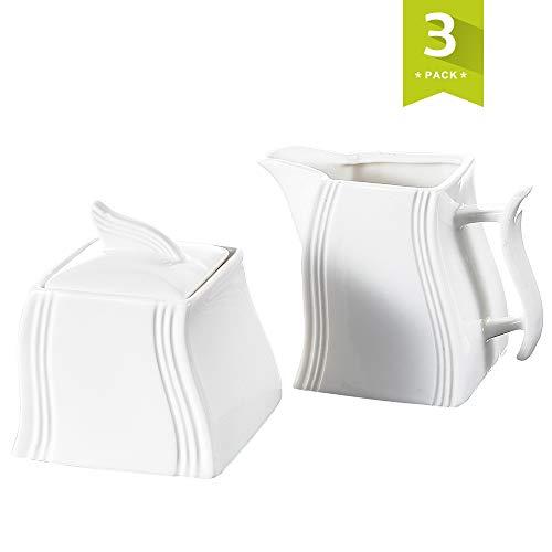 MALACASA, Serie Flora, 3-teilig Cremeweiß Porzellan Milch und Zucker Set mit Deckel, Milchkännchen Zuckerdose Milch- & Zuckerbehälter Küchenhelfer