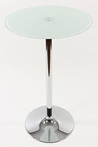 Stehtisch Weiß rund Glas 104 cm Drehbar Bistrotisch Tisch Bartisch