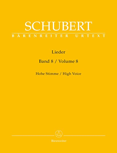Lieder, Band 8 (Hohe Stimme).Singpartitur, Sammelband, Urtextausgabe. BRENREITER URTEXT