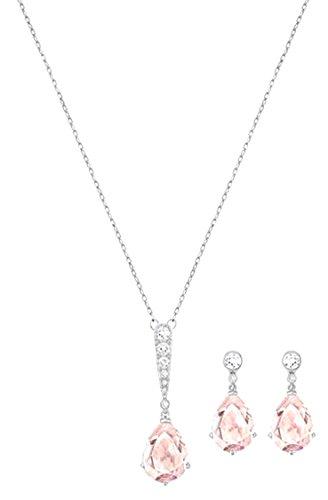 Swarovski Damen-Schmuckset Halskette + Ohrringe rhodiniert Kristall weiß – 5278350