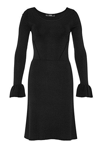HALLHUBER Strickkleid mit Volantärmeln ausgestellter Schnitt schwarz, XS
