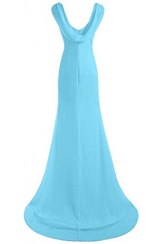 Gorgeous Bride Schlicht V-Ausschnitte Etui Chiffin Lang Schleppe Abendkleid Ballkleid Festkleid Blau