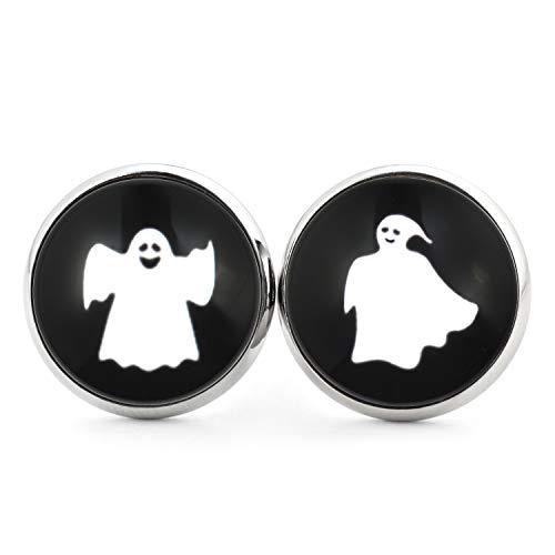 SCHMUCKZUCKER Unisex Edelstahl Ohrstecker mit Motiv Halloween Gespenster Silber-farben Schwarz 14mm
