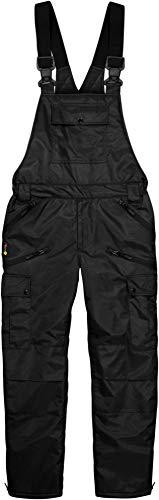 normani Winter Herren Thermo Latzhose, gefüttert, Wind- und wasserdicht, 6 Reißverschlusstaschen Farbe Schwarz Größe 5XL
