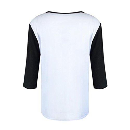 BYSTE Donna Camicia Blusa Maglia Manica lunga Casual Elegante V-collo Camicetta Stampare T Shirt Top bianca