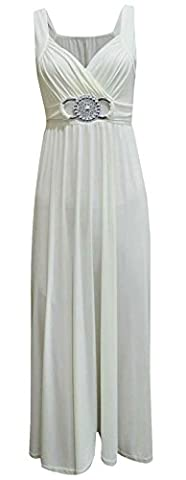 Womens New Sleeveless Ladies Stretch Cross Over Wrap Buckle Belt Back Tie Fastening Long Maxi Dress Plus Size Cream Size 20 -