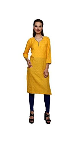 Priyali's Collection Cotton Solid Dye 3/4th Sleeves Yellow Kurti With Black Legging  available at amazon for Rs.249