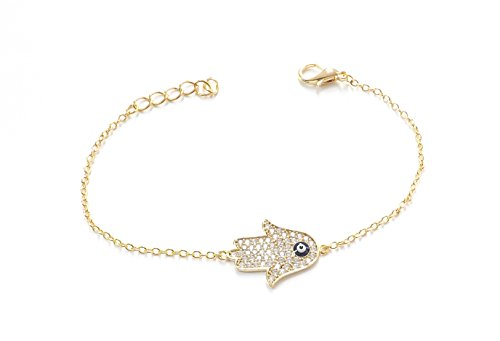 Remi Bijou Wunderschönes Armband Armkette Armreif - Fatimas Hand Fatma eli Buddha - Gold Farbe Strass - blaues Auge Nazar Boncuk Evil Eye