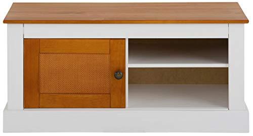 Loft 24 A/S TV-Bank Lowboard Fernsehschrank Landhaus 1 Tür 2 Fächer Kiefer Massivholz Rattan 95 x 40 x 45 cm (weiß & Honig) -