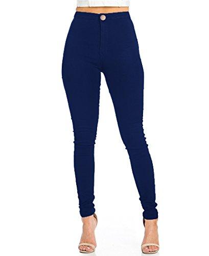 EASTDAMO Frauen-Ausdehnung-hohe Taille dünne Jeggings dünne Jeans, Blue, Gr. XS