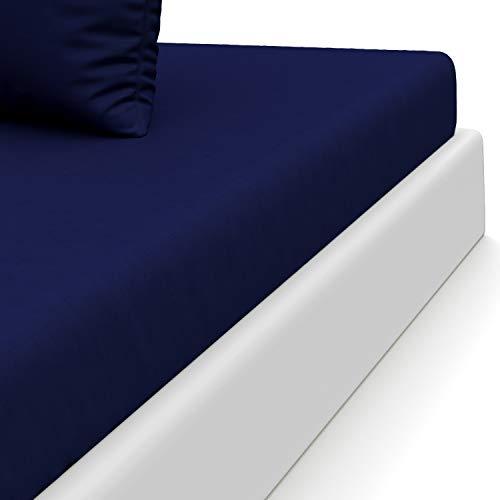 Dreamzie ⭐Spannbettlaken mit 100% Polyester Microfaser (Dunkel Blau, 90 x 190/200 cm) - Ohne Chemische Substanzen Zertifiziert - Spannbetttuch, Spannleintuch Zertifiziert nach Oeko TEX