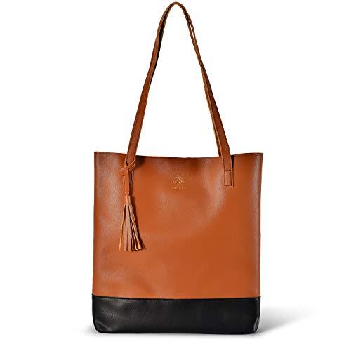 JUBELIST Shopper Tasche Valentina elegante Schultertasche als Shopping Bag Handtasche (Cognac)