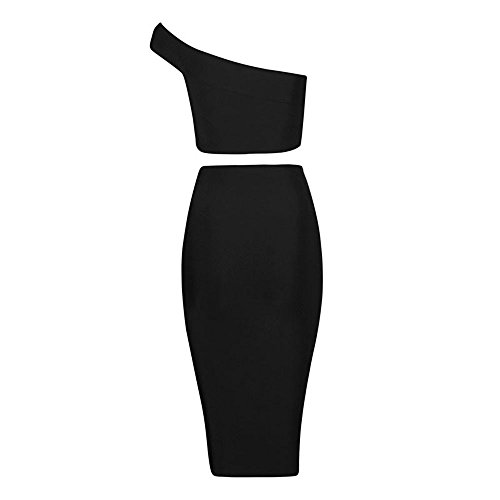 HLBandage 2 Pieces One Shoulder Open Fork Rayon Bandage Dress with Bead Adorn Noir