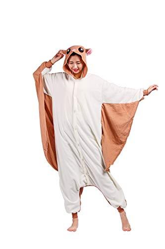 Tiere Onesie Karneval Kostüm Damen Jumpsuit Pyjama Schlafanzug Weihnachten Halloween Overall Nachtwäsche Faschingskostüme Herren Fliegendes Eichhörnchen