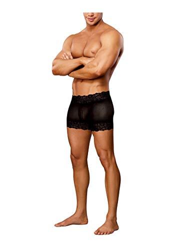 Male Power - Scandal Lace Short mit geteilter Rückenpartie und bequemer Passform - Schwarz - S/M