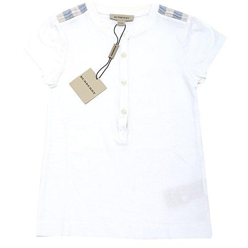 0230H maglia bimba bianca BURBERRY check maglietta polo t-shirts kids [5 ANNI]