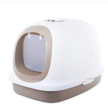 Wcx Rotin Toilette Chat,Toilette pour Animaux Compagnie Dôme Entièrement Clos Bol À Litière pour Chats/Litière pour Chats 62x64x44cm (Couleur : Brown)