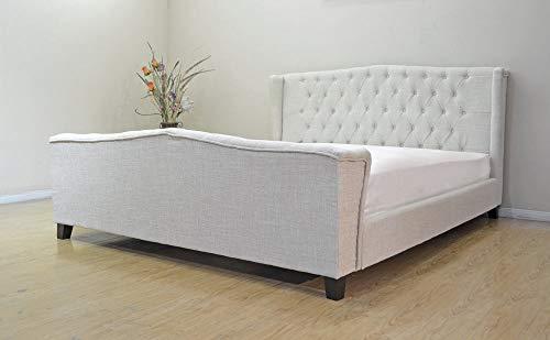 Unbekannt Englisches Ehebett Chesterfield Bett Polsterbett Hohes Kopfteil 180x200cm Palazzo Exklusiv