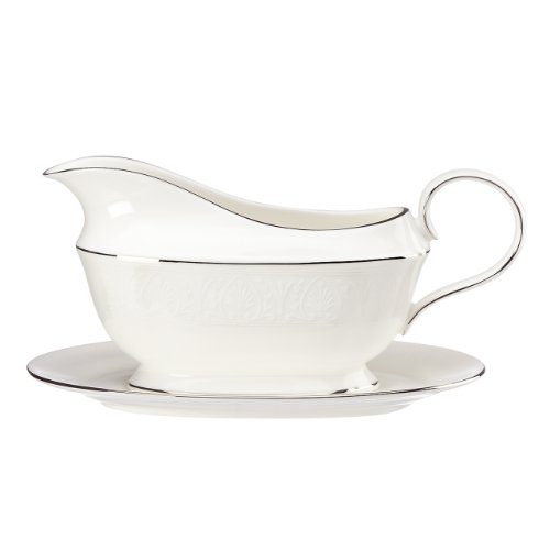 Lenox Hannah Platinum Sauce Boat and Stand, White by Lenox -