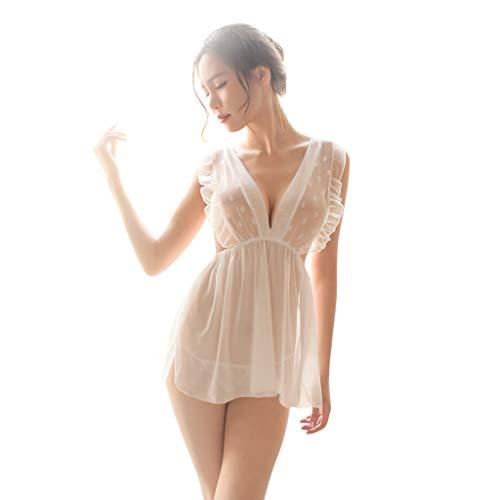dianDIAN-GE Damen sexy Negligee Frauen reizvolles tiefes V-Ausschnitt Spitze Spleißkleid Nachtwäsche Babydoll (Weiß,)
