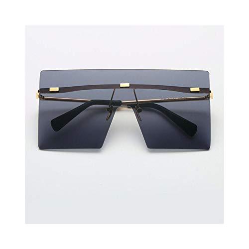 Sport-Sonnenbrillen, Vintage Sonnenbrillen, Big Square Rimless Sunglasses Women Men Vintage Fashion Metal Sun Glasses Female Oversized Shades Eyewear Male Goggles 04
