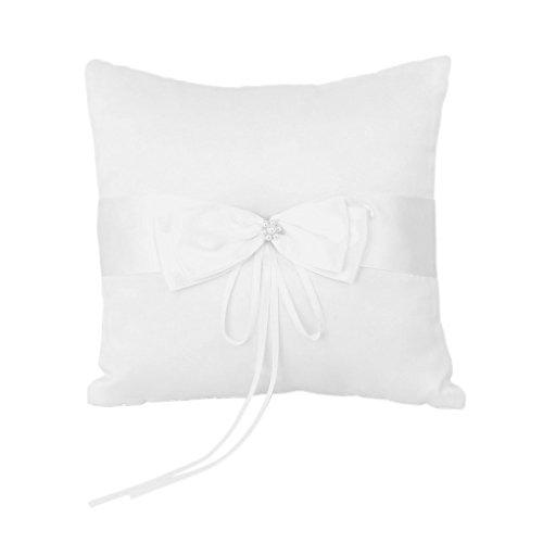 Satin Kunstliche Perle Blume Hochzeit Party Tasche Ring Kissen Kissen ()