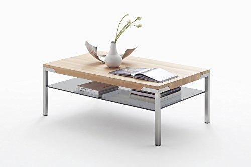 Couchtisch Wohnzimmertisch Kernbuche Massiv 115x70 cm mit Ablage aus Glas. Stabiler Massivholztisch aus Eichenholz auf Gebürsteten Edelstahlfüssen.