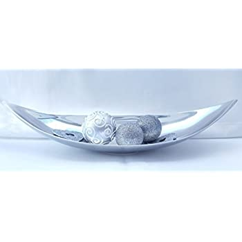 Decoration Bowl Long Leaf 31 5 Aluminium Silver From Xtradefactory