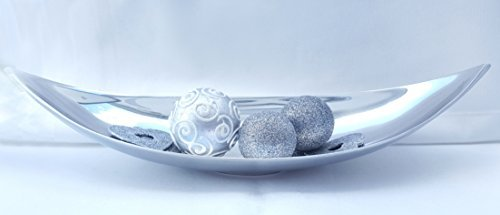 Cleanprince ovale Bol Coupe en métal Aluminium oblong couleur argentée env. 410x35x140 mm argent ovale Plateau Feuilles En forme de feuille Bootsform Botte Panier de fruits Collations-shell Déco