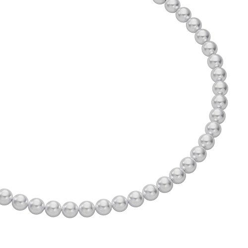 Heideman Halskette Damen Perlenkette aus Edelstahl Silber farbend matt Kette für Frauen mit Swarovski Perle hellgrau rund Perlenschmuck Brautschmuck