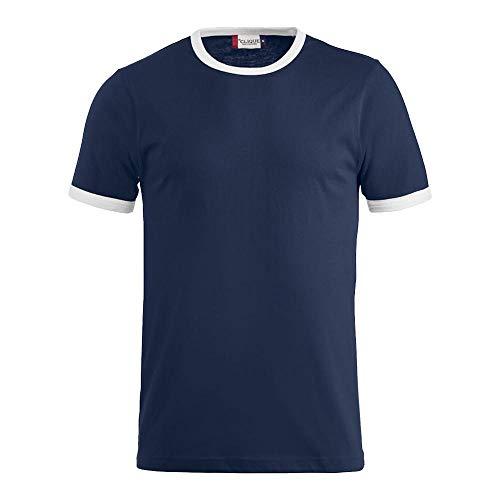 Clique - Kontrast T-Shirt 'Nome' / marine / weiß (58/00), XL - Zeit Ringer T-shirt