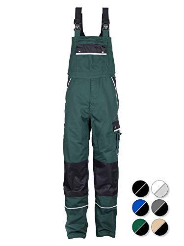 TMG® Komfortable Herren Latzhose | Männer Arbeitslatzhose mit Reflektoren und Taschen für Kniepolster | Garten- und Landschaftsbau | Grün 98 -