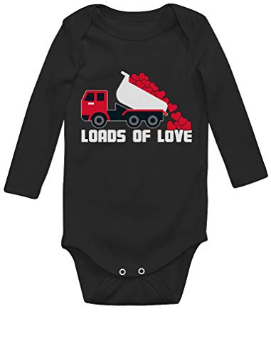 Green Turtle T-Shirts Saint Valentin - Loads of Love - Naissance Body Bébé Manche Longue Newborn Noir