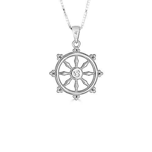 Kleine Schätze Sterling Silber Buddhismus DHARMACHAKRA Dharma Rad Anhänger Halskette (Verfügbare Kettenlänge 40cm - 45cm - 50cm - 55cm)