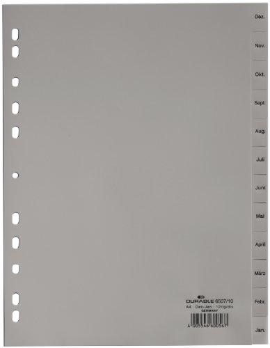 Durable 650710 Monatsregister umgekehrter Ablauf (A4 geprägte Taben Dez-Jan, 12-teilig, Universallochung) 25 Stück grau