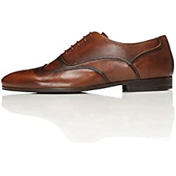 FIND Leather Lace Up Brogue, Zapatos de Vestir Hombre, Marrón (Brown), 42 EU