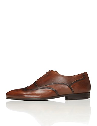 FIND Leather Lace Up Brogue, Zapatos de Vestir Hombre, Marrón (Brown), 43 EU
