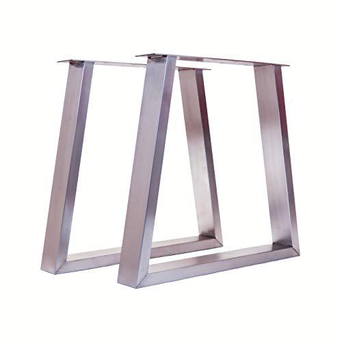 Tischgestell Trapez-Form modern I hochwertiger Edelstahl gebürstet I 72 cm hoch I 100 x 40 mm Profil I Indoor & Outdoor I Untergestell für Ess-, Schreib-, Gartentisch etc. I 1 Paar (2 Stück)