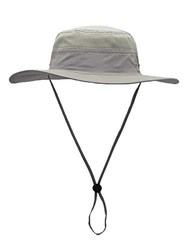 WANYING Damen Herren Outdoor Bucket Hut Fischer Hut Buschhut Atmungsaktiv Schnelltrocknend Sonnenschutz - für Kopfumfang 60-63 cm Hellgrau (Damen-xl-sonnenhut)