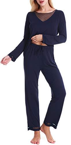 Kuorle Damen Nachthemden, Damen Zweiteiliger Pyjama, Damen Pyjamas Sets, Damen Schlafanzug Set Langarm Für Frauen (Dark Blau,S) - 2 Stück Mesh Robe