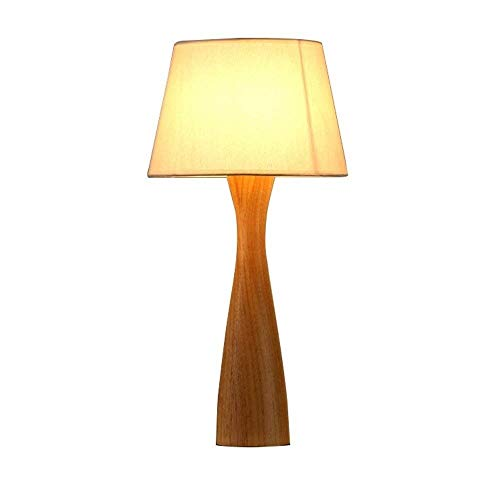 IRVING Schlafzimmer Nachttischlampe Arbeitszimmer Massivholz Stoff LED Dekoration Nordic kleine Tischlampe-Wood Finish (Messing Antik Boden Leselampen)
