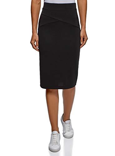 oodji Ultra Mujer Falda Lapiz de Tejido Texturizado, Negro, ES 40 / M