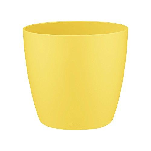 Elho Brussels Maceta Redonda, Amarillo (Happy Yellow), 10.1 x 10.1 x 8.6 cm