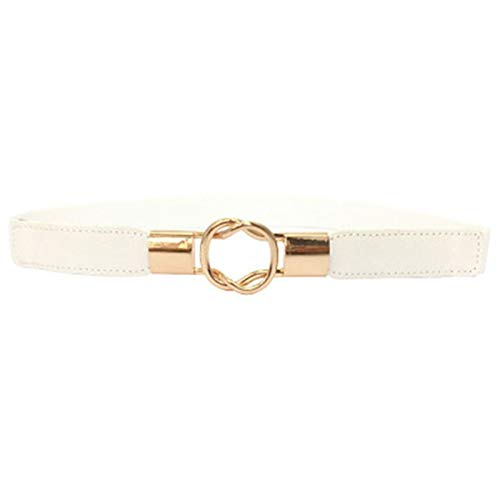 PmseK Cinturones Mujer, Thin Belts For Women Metal Buckle Elastic Waist Belt Female Straps Waistband For Dress Jeans white
